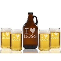 I Love DogsビールAmber Growler and can glasses ( Set of 5 )