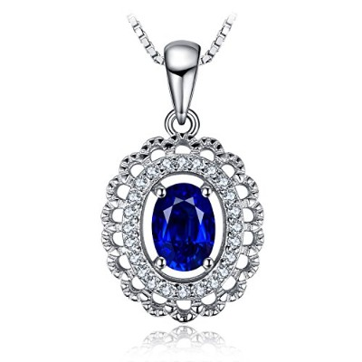 JewelryPalace 1.2ct サファイア ペンダント ネックレス スターリング シルバー925  45cm