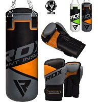 RDX キッズ Punch Bag UNFILLED セット ジュニア Kick Boxing 2FT Heavy MMA Training Youth グローブ Punching Mitts...