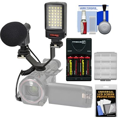 プレシジョン デザイン デジタル Camera / Camcorder LED ビデオ Light with Bracket + Microphone + Bracket + Batteries &...