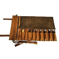 Lightweight Premium Tan Leather Chef Knife Bag/Chef Knife Roll Genuine Leather with Buckle