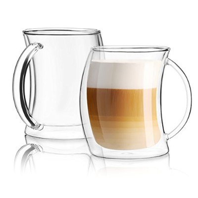 JoyJolt Caleo Collection Glass Coffee Cups Double Wall Insulated Mugs Set Of 2 Glasses (13 oz,...
