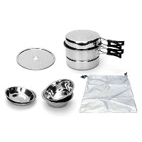 QueenSense BOSS ステンレスコッヘルセット 8p アウトドアキャンプ用 海外直送品 (Stainless Steel Cookware Set 8p Outdoor Camping...