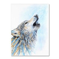 Howling Wolf By Michelle Faber、14 x 19インチキャンバス壁アート