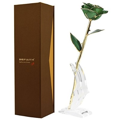 (K.deep Green) - DeFaith Green 24K Gold Rose, Unique Anniversary Gifts for Mother Wife Girlfriend...
