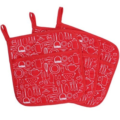 (Red) - 100% Cotton Kitchen Everyday Basic Terry Pot holder With Pocket Heat Resistant Coaster...