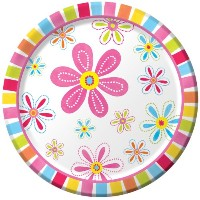 Creative ConvertingピンクフラワーCheer 8Count Paper Dinner Plates