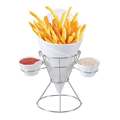 Starfrit French Fry and Dip Serving Dish ,シルバーby Starfrit