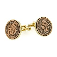 J。J。Weston Indian Head Penny Coin Cufflinks。Made In The USA。