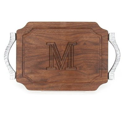 (M) - BigWood Boards W300-RP-M Bar/Cheese Board with Rope Handle in Cast Aluminium with Scalloped...