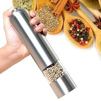 Pepper Grinder E'YOBE Automatic Salt and Pepper Mill with Adjustable Ceramic Rotor and LED Light