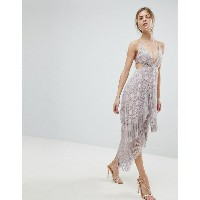 エイソス レディース ワンピース トップス ASOS Lace Fringe Cut Away Midi Dress with Strappy Back Mink