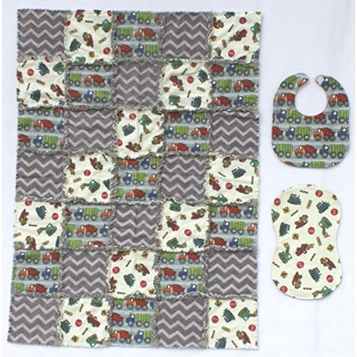 Adorable Dump Trucks with Grey Accent Fabrics Baby Rag Quilt with Matching Burp Cloth and Bib by...