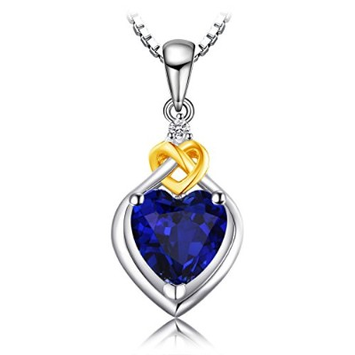 JewelryPalace ハート 2.5ct サファイア ペンダント ネックレス スターリング シルバー925