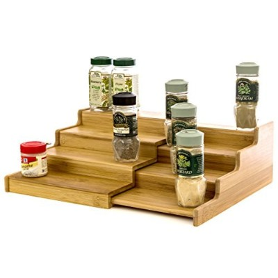 Expendable Spice Rack, Spice Shelf, Spice Storage Organiser 4 Tier Made of Organice Bamboo by...