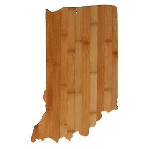 Real竹Cutting and Serving Board , Unique Indiana Shaped Board