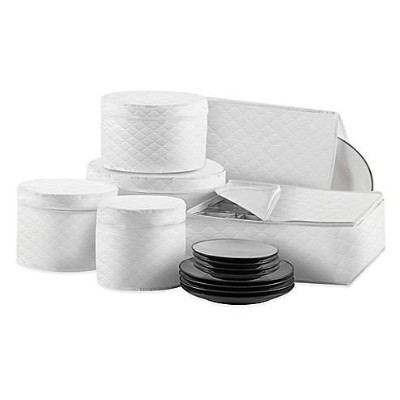 Quilted 6-Piece Dinnerware and Serveware China Storage Protector Set in White