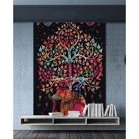 maniona Crafts Tree of Life Psychedelic Wall Hanging Elephantタペストリー、マルチ/ブラック、55 x 86-inches