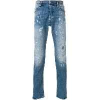 Diesel ripped detail straight leg jeans - ブルー