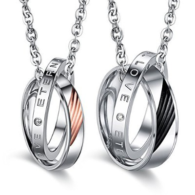 His & Hers Matching Set Valentine Angel Wing Couple PendantネックレスLoveスタイルをギフトボックスに( Aセット)