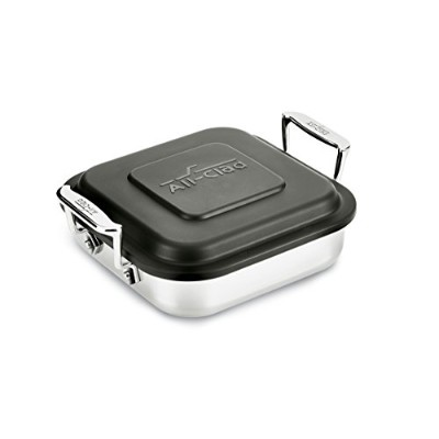 All-Clad E9019464 Gourmet Accessories Stainless Steel Square Baker w/lid cookware, 20cm, Silver