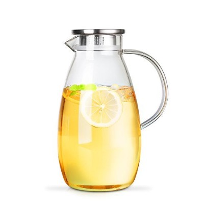 ONEISALL GYBL629 Penguin Shape Large Capacity Borosilicate Glass Water Pitcher with Stainless Steel...