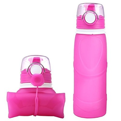 (Pink) - SIXBOX Foldable water bottle- 750ml travel mountaineering silicone bottle, BPA Free, FDA...