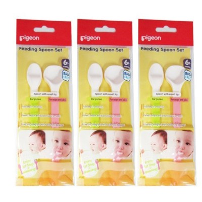 New LOT 3 X Pigeon Baby Feeding Soft Top Spoon Ergonomic Grip Containing 2 Pcs by Pigeon