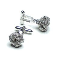 silver-coloredメンズCuff Links。従来Double Knot Cufflinks。