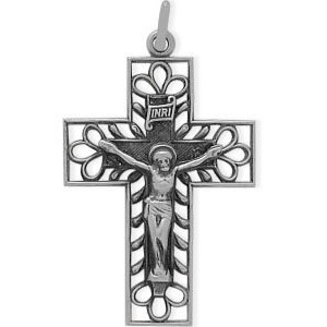 Genuine Sterling Silver Religious Classy十字架チェーン付き