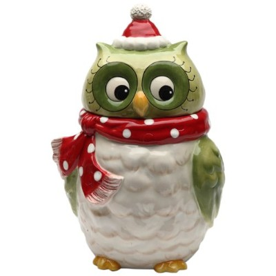 Cosmos Gifts 10901 Owl Design Ceramic Holiday Cookie Jar, 9-5/8-Inch by Cosmos Gifts