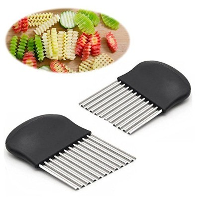 Crinkle Cutter and French Fry Slicer By Guardians Salad Chopping Knife and Vegetable Steel Blade...