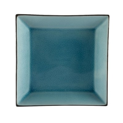CAC China 6-S16-BLU Japanese Style 10-Inch Lake Water Blue Square Plate, Box of 12 by CAC China