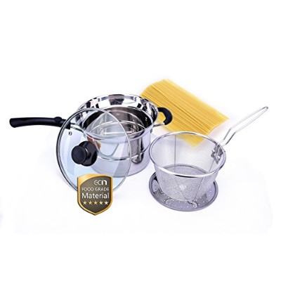 (Silver) - Ecin 3.3l Steam Pot/Pasta Pot With Strainer Insert And Steamer Set/Stainless Steel...