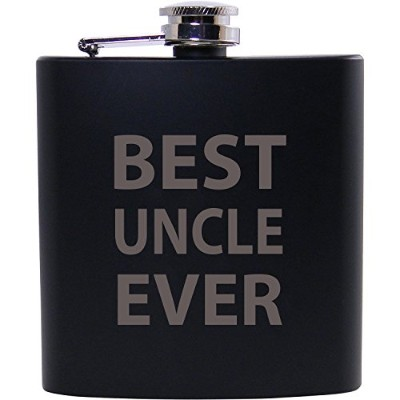 Best Uncle Ever 6オンスブラックフラスコ – Great Gift for、または誕生日クリスマスギフトの叔父