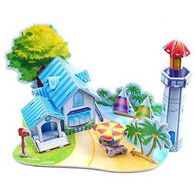 (Beautiful beach) - 2pcs 3D paper puzzle toys anthonygift children DIY early childhood educational...