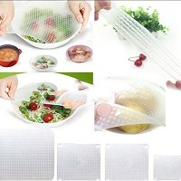 Set of 4 Silicone Seal Bowl Covers and Food Stretch Lids Reusable Keep Food Fresh Plastic Wrap for...