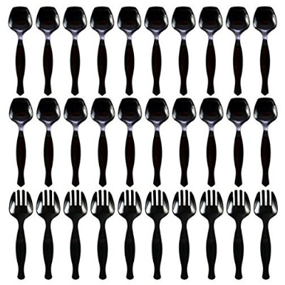 transitions2earth生分解性Serving Utensils Serving Spoon & Serving Fork Combo Pack - 30 Count ブラック 21707