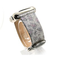 tcshow for 38mm Shine Glitter Leather with Inner本革Apple Watchバンドレザー交換用のすべてのiWatch withシルバーメタルアダプタ...