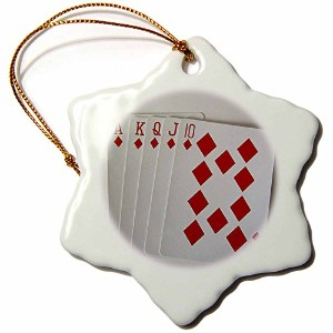 3dローズFlorene Games – Poker Hand – Ornaments 3 inch Snowflake Porcelain Ornament orn_11470_1