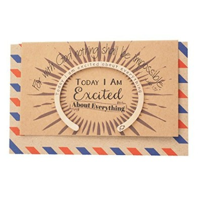 Quanジュエリーフラットカフブレスレットwith Engraved Bible Verse、Inspirational Quote on Greeting Card