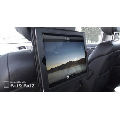 Apple iPad 2 & iPad 3 & iPad 4 BLACK Dual In-Car Headrest Holder & Flip Case Cover 車載後部座席用ヘッドレストケース...