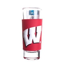 Wisconsin Badgers 2oz。NCAA PVCラップTallショットガラス