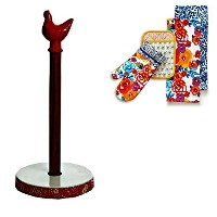 The Pioneer Woman Flea Market Red Hen Paper Towel Holder with a 4 Piece Set of The Pioneer Woman...