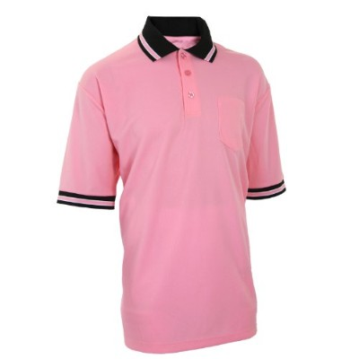 (Large, Pink) - Adams USA Smitty Major League Style Short Sleeve Umpire Shirt with Front Chest...