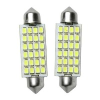 44mm LED dome white 24 SMD bright bulbs, for map cabin auto truck interior light 2pc by TunedbyMatri...