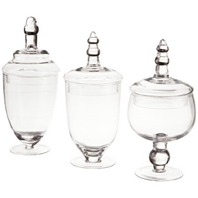 Home Essentials TerraコレクションAssorted Footedガラス容器with Lids ( Set of 3) by Home Essentials & Beyond