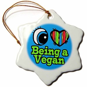 3drose Dooni Designs Eye Heart I Love Designs – Bright Eye Heart I Love Being A Vegan – Ornaments 3...