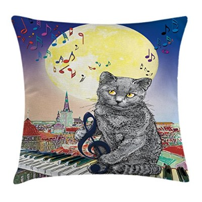 Cityスロー枕クッションカバーby Ambesonne、Musical Notes Cat with theキーボードon Rooftops in Night Sky Old Town Full...