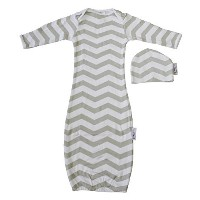Woombie Indian Cotton Gowns Plus Hat, Gray Chevron Unisex, 16-23 Lbs by Woombie